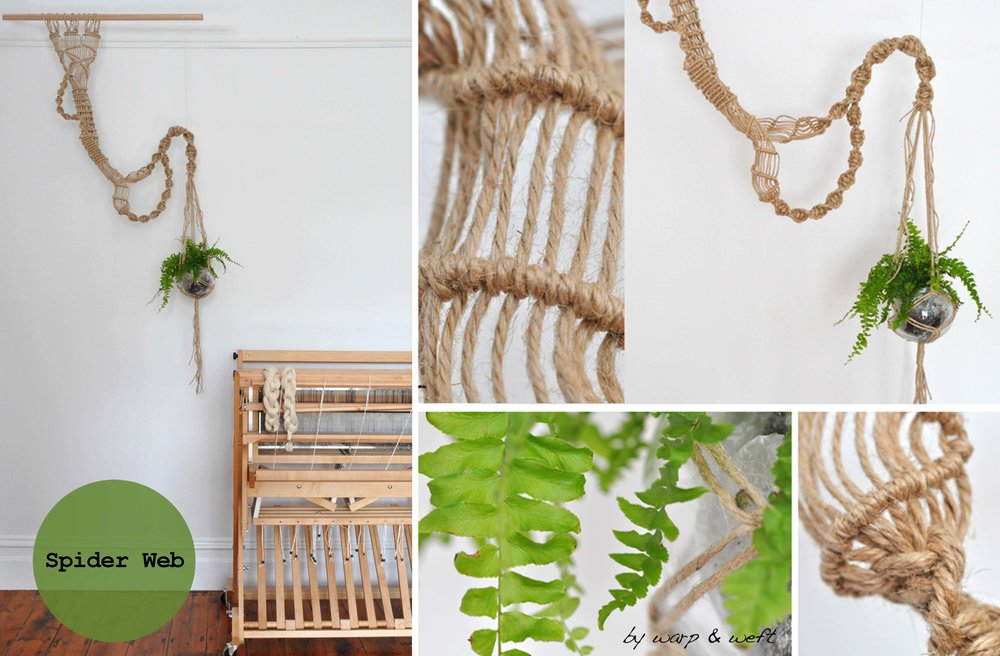 The inspiration for the 'Spider Web' Plant hanger piece came to me from my fathers vast backyard in east Gisppland where you see an array of Phonognstha Graeffei's that cleverly weaves a leaf into a center of its web as a hide–away. The shape and web like structure gave me my inspiration. My pieces are designed with a modern twist to the traditional classic Macramé.  This piece can be hang from a ceiling via a 2 hooks 1 meter apart or using wooden dowel. The width can be adjusted to sit close or apart from the main body frame. This piece is more expressive and looks fantastic as a focal piece with a long trailing leafy tendrils.