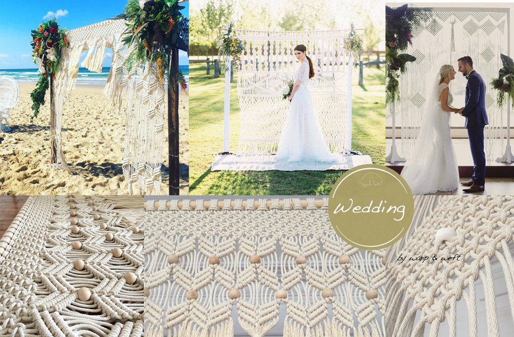 "Just the best day ever!  It's a rewarding experience creating macrame pieces for weddings knowing that two people are about to say 'I do"". Warp & Weft can create custom macrame wedding arches for your big day. It can be as extravagant or simple in design. It's your day to create that fairytale setting."