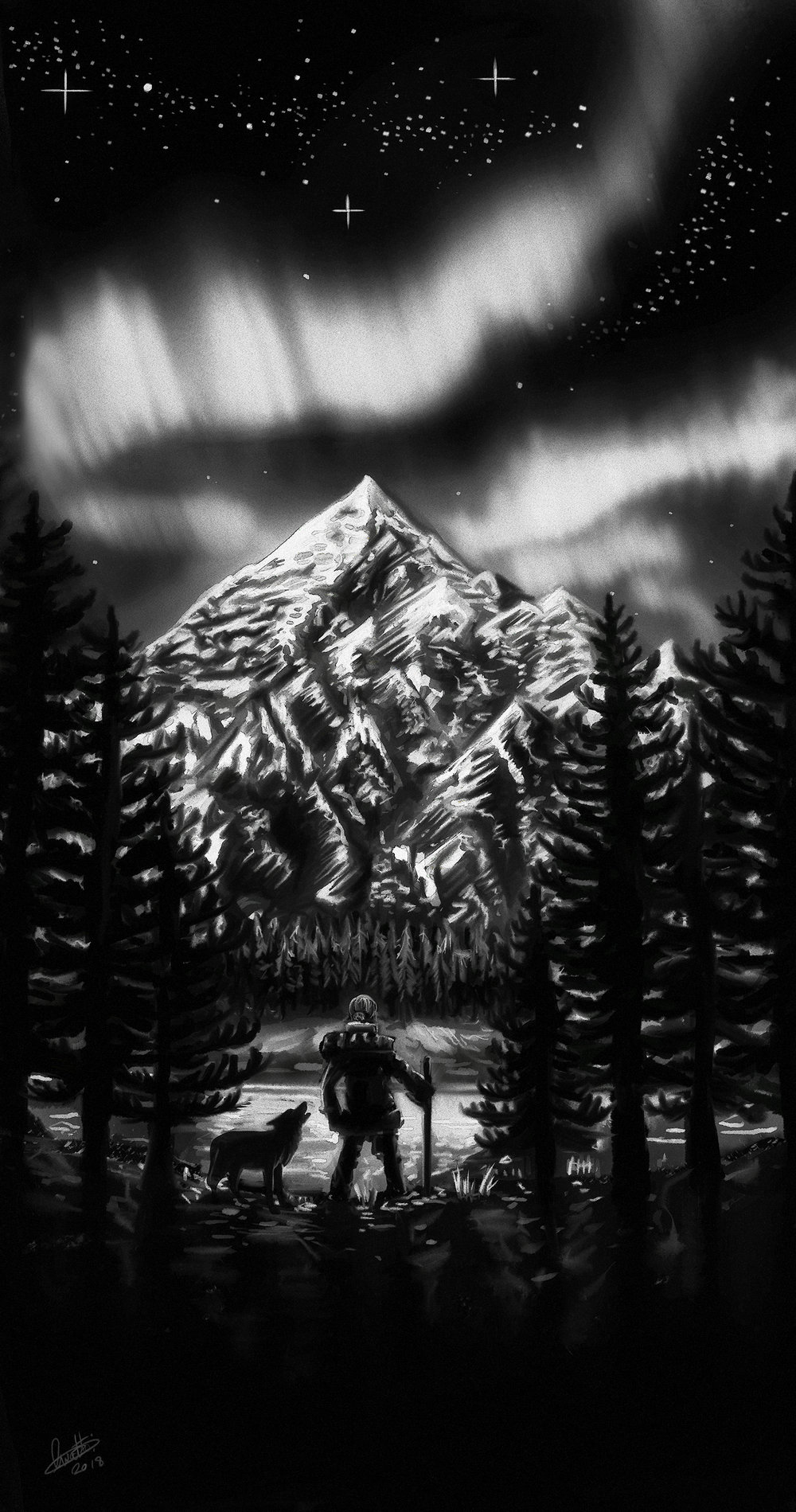 "A Tattoo Design Completed in 2018, the brief was ""A Mountain Scene with an Aurora, lots of snow. Pine trees, The Tattoo had to match an existing tattoo in its art style."