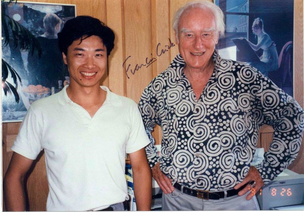 With Francis Crick in 1991 in his office in the Salk Institute.