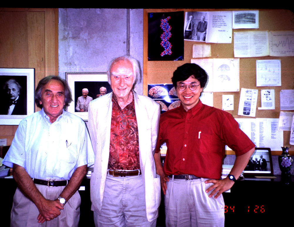 With Leslie Orgel and Francis Crick in 1994.