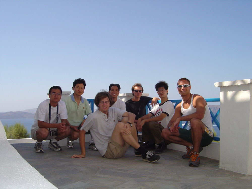 2003 Zhang Laboratory students at the Crete conference, Santorini excursion.
