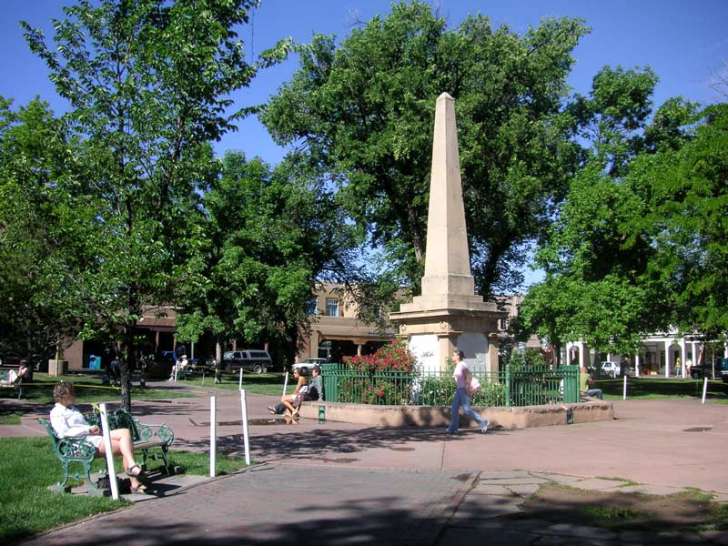 The Santa Fe Plaza marks the historic center of town and the end of The Santa Fe Trail.