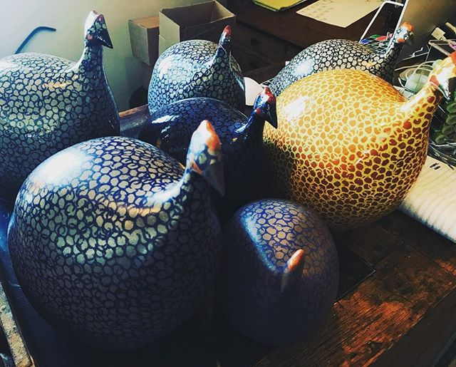 Flock of hens! Handmade in Provence, these beauties are a a must see! #brickyardmv #mv #handmade #shoplocalmv #marthasvineyard #shopmainstVH #guineahens #french #visitvineyardhaven