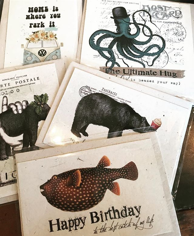 These vintage inspired cards arrived from In the Land of Elsewhere today...come check out the fun designs of this creative duo. #brickyardmv #mv #shoplocalmv #boutiquemv #shopmainstvh #handmade #vintage #noteworthy