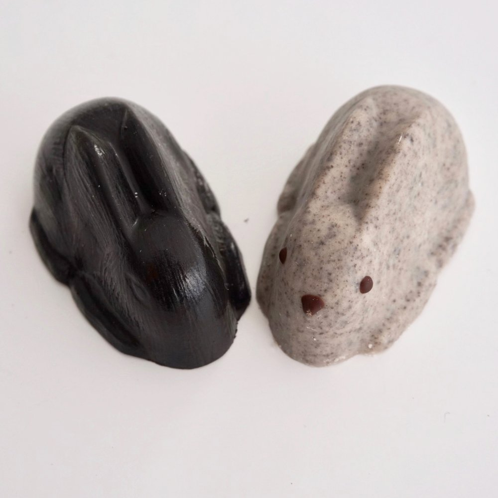 1. Cookies and Cream Bunny (right) - THIS ONE. This one was my favorite. It's a solid white chocolate cookies and cream bunny. I usually don't like white chocolate, yet this is the only time where I feel it is appropriate. It reminded me of a Hershey's Cookies and Cream bar, which was comforting since one of my oldest memories is eating one of those candy bars while watching my dad replace our dining room carpet. (Eating while others do manual labor is a recurring theme in my life.) As I ate this bunny, I noticed that it defied the Law of Diminishing Returns– I enjoyed it more as I continued to eat it. Conclusion: I want these commercially available year-round.