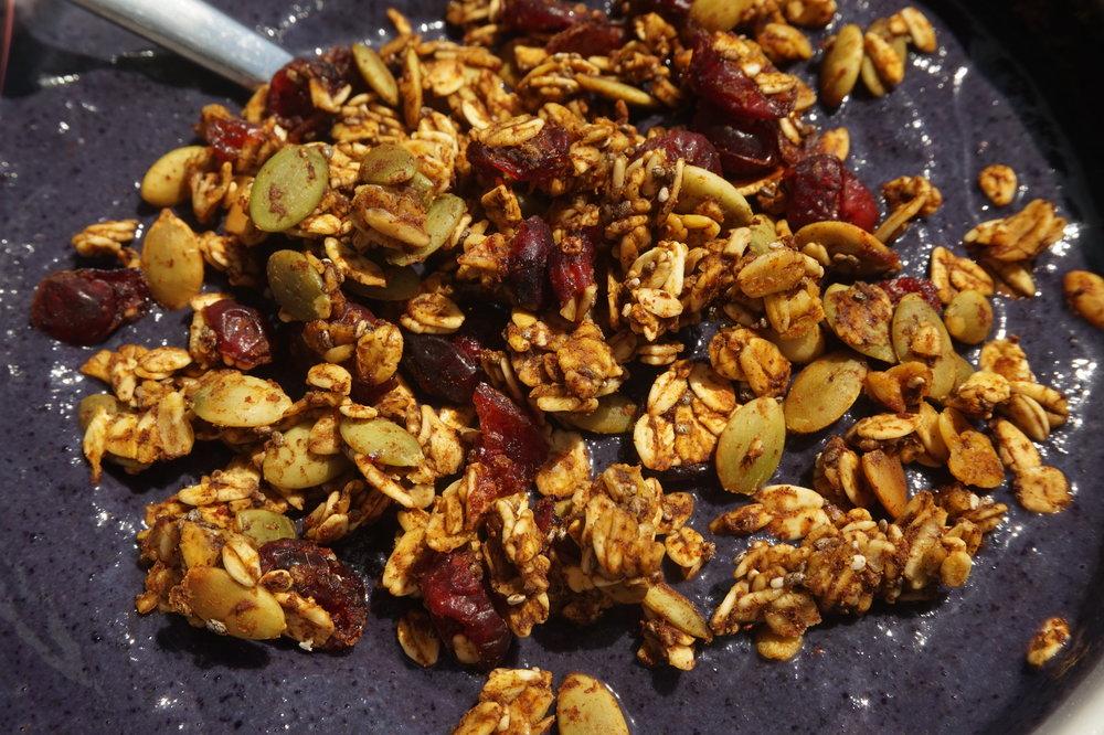 granola on smoothie bowl