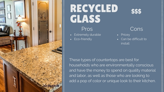 Recycled glass countertop pros and cons