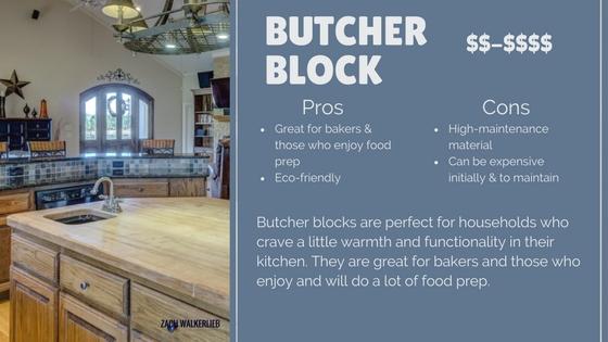 Butcher block countertop pros and cos