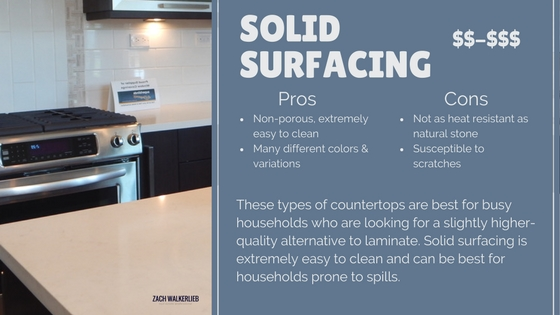 Solid surfacing countertop pros and cons