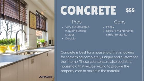 Concrete countertop pros and cos