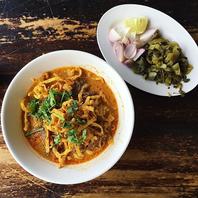 "What a BETTER !! combination if you can eat two favorite things in the same time. Yeah, NOODLE+CURRY= ""Khao Soi"" the most popular noodle from Chaing Mai, 🇹🇭 Thanks to ""Khao Soi Khun Yai"" and 📷: @tshajstudio"