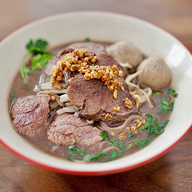 Boat Noodle - one of the most famous street noodle soup founded in 1656. Choice of Prime Rib Beef or Pork,