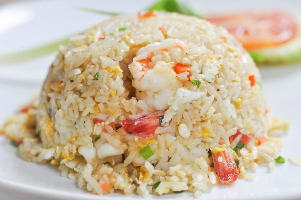 Street Fried Rice - Stir Fried Rice with Onion, Tomatoes, Chinese Broccoli and Egg
