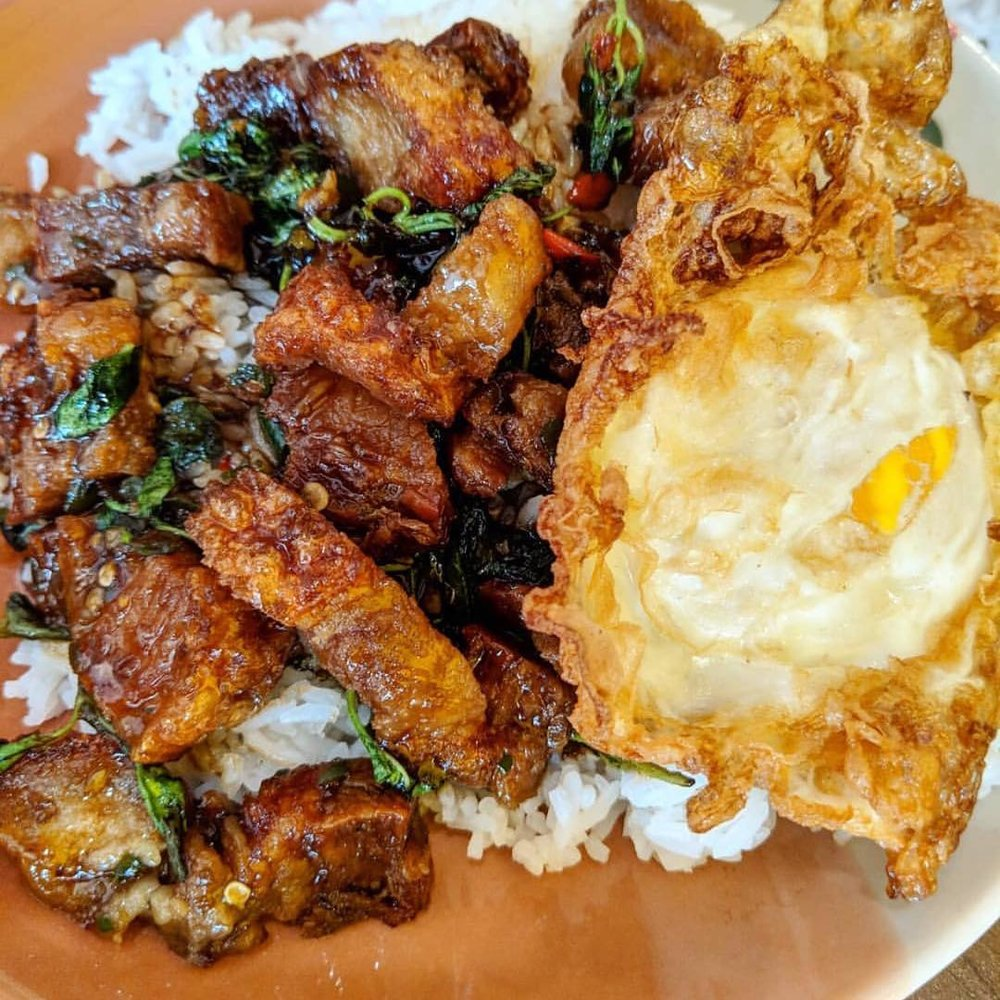 Khao Grapow Moo Grob Khai Dow - Stir Fried Crispy Pork Belly with Chili, Garlic, Oyster Sauce and Holy Basil Over Rice With Fried Egg