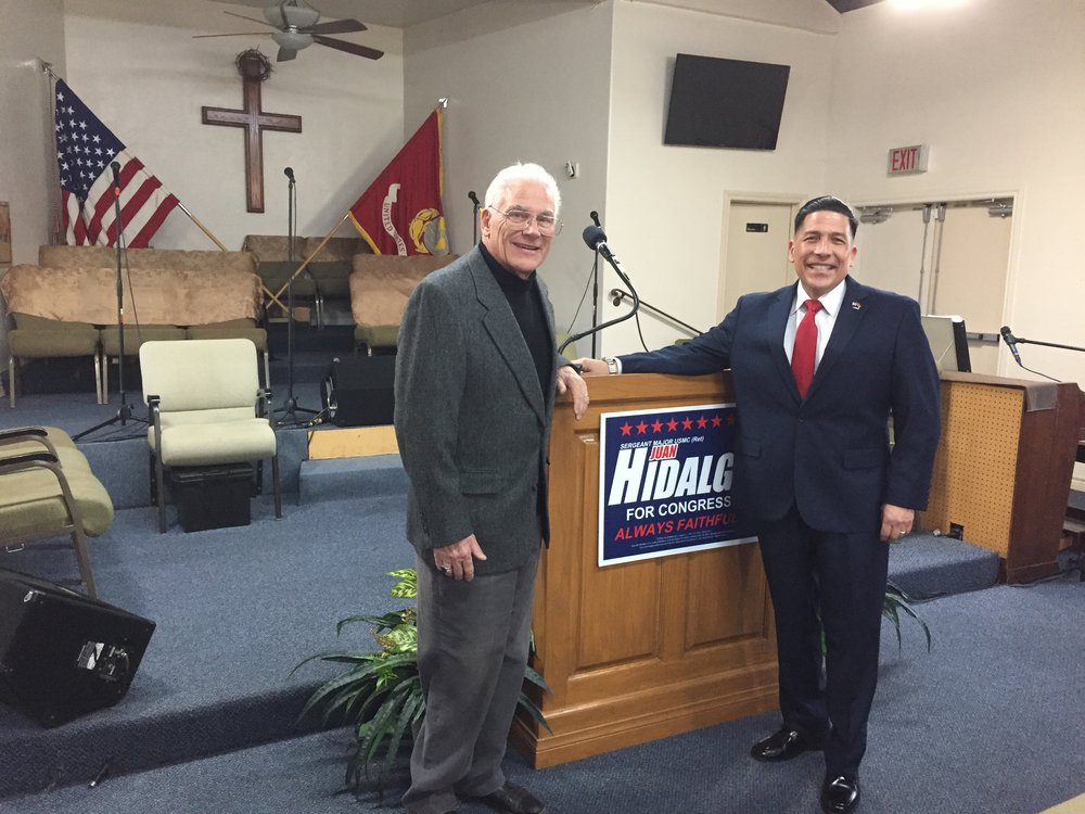Robert and congressional candidate Juan Hildago for the 51st district. Mr Hidalgo is a believer in Jesus Christ. He served in the military for years earning the rank of sergeant major. He puts God first in his life.