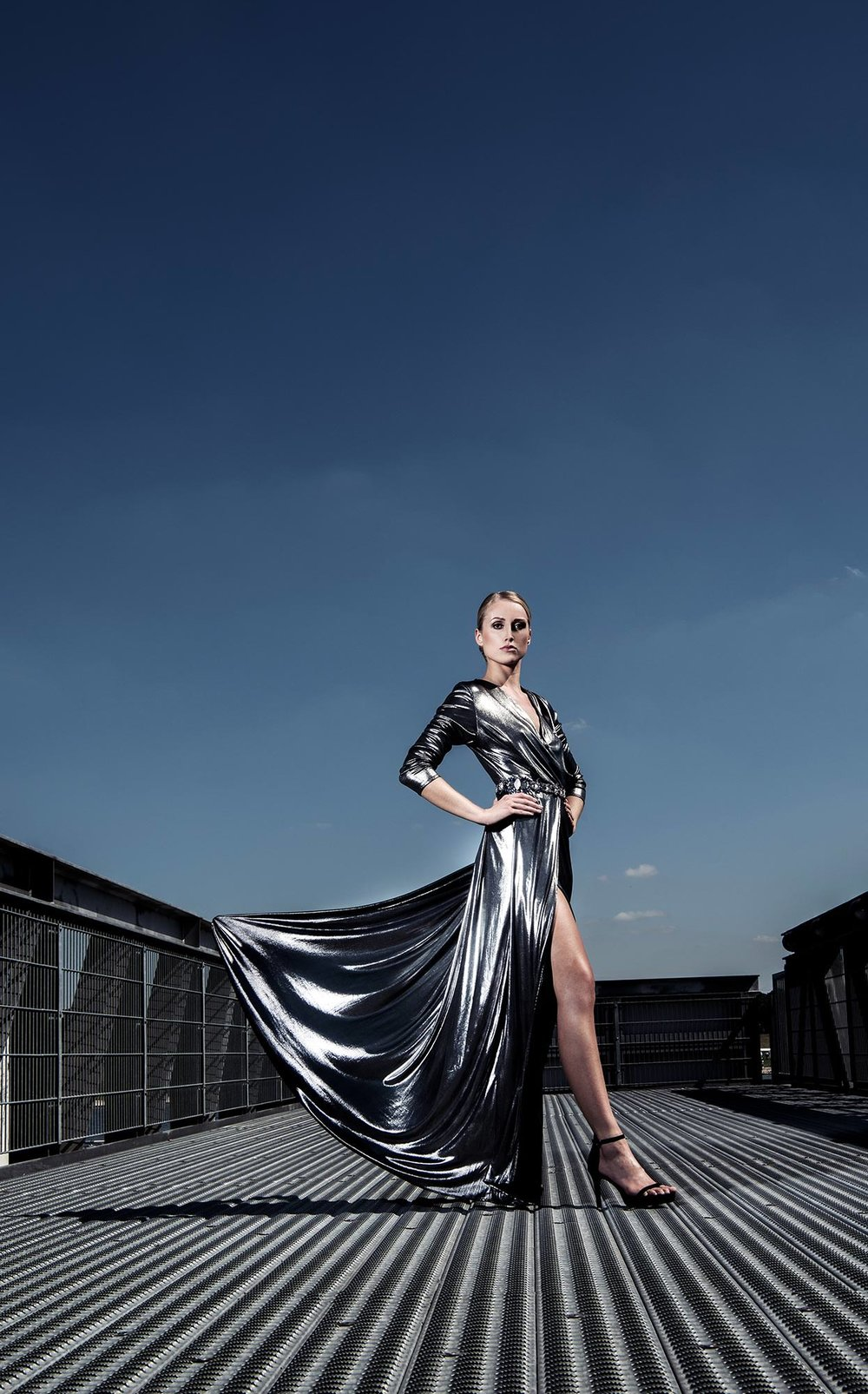 silver Dress with blue sky