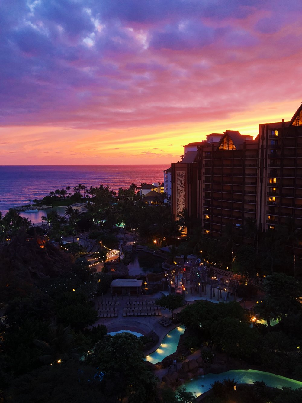 Sunset over Aulani.