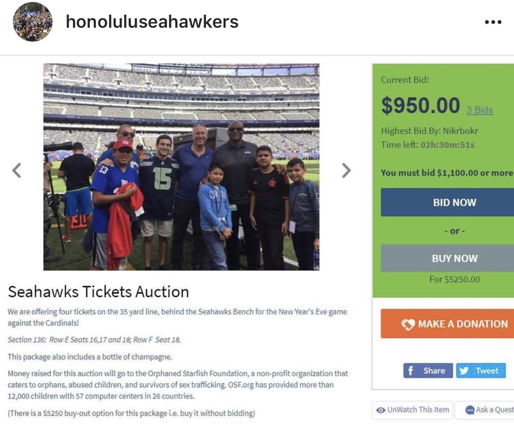 Auction for New Year's Eve game tickets. All money goes to Orphaned Starfish Foundation, a non-profit that addresses the challenges facing orphans, abuse victims, survivors of trafficking, indigenous children, and at-risk youth