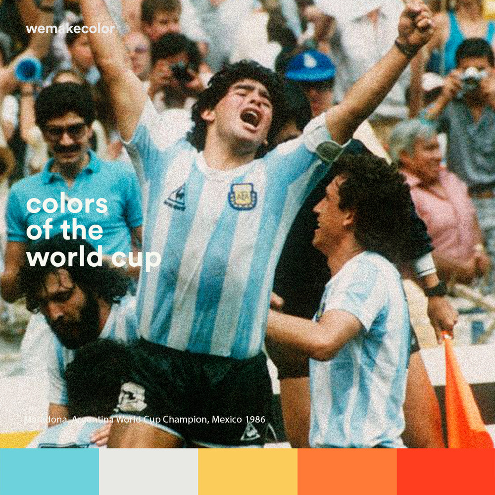 Diego Maradona celebrates Argentina's victory against Germany in Mexico 86, his second world cup in history.