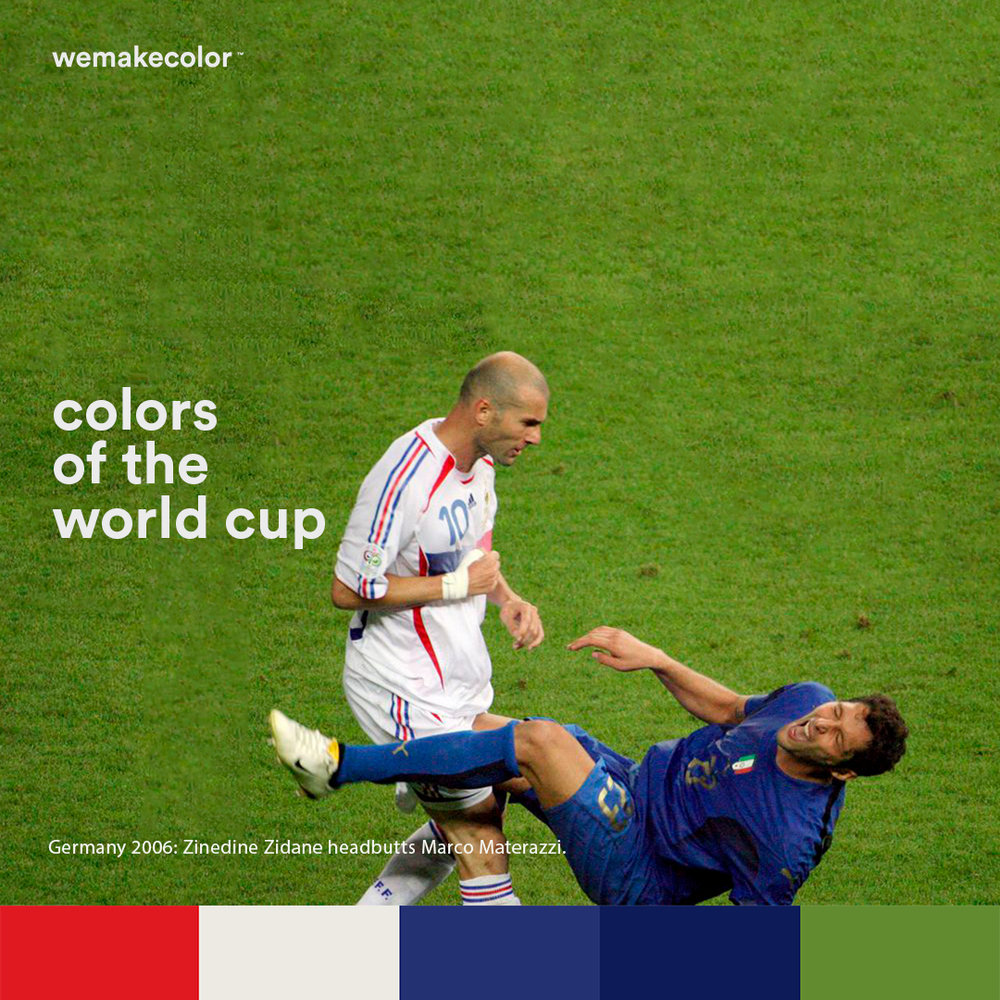 Germany 2006: Zinedine Zidane headbutts Marco Materazzi and receives a red card. That was Zidane's last match.