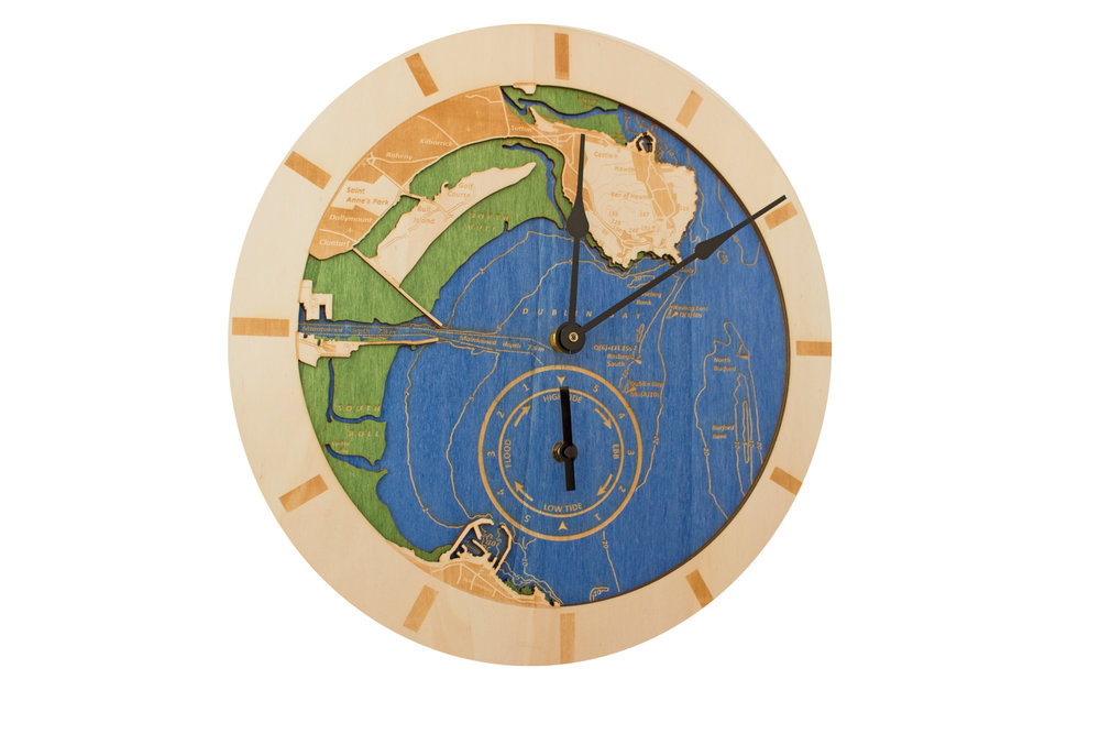 Functional Art - A twist on the Connections Range was the creation of a functional piece that tells the time and the tide! This chart is in the form of a 400mm diameter clock that also indicates the state of the tide and the hours until high tide, low tide and half tides. Prices range from €295.