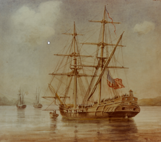 The Lexington Raising the Flag.By F. Muller (Naval History and Heritage Command KN-457) [Public domain], via Wikimedia Commons