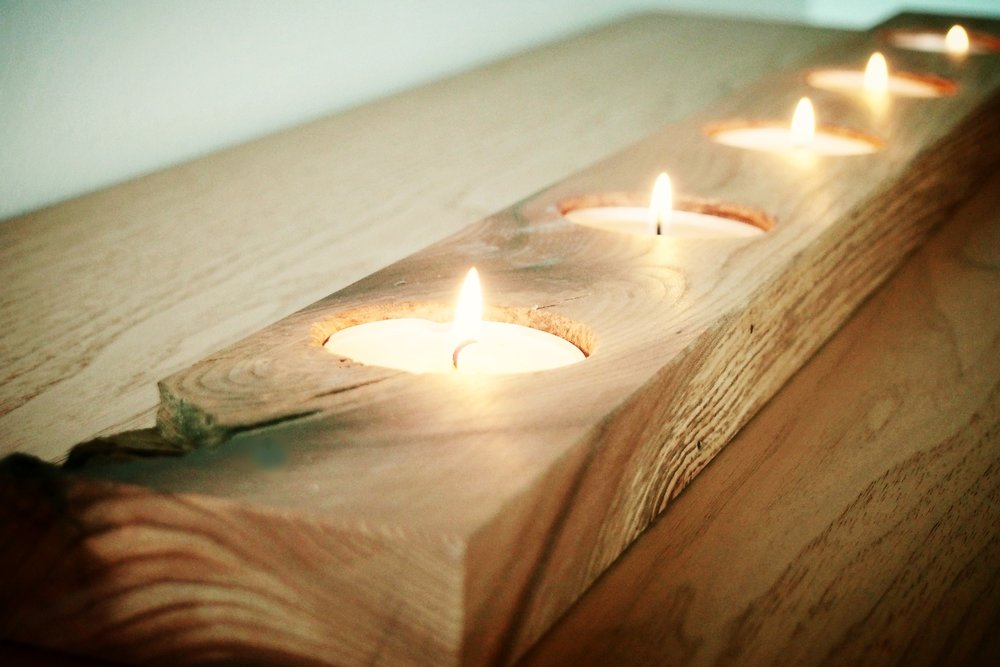 DIY Wooden Tea Light Candle Holder