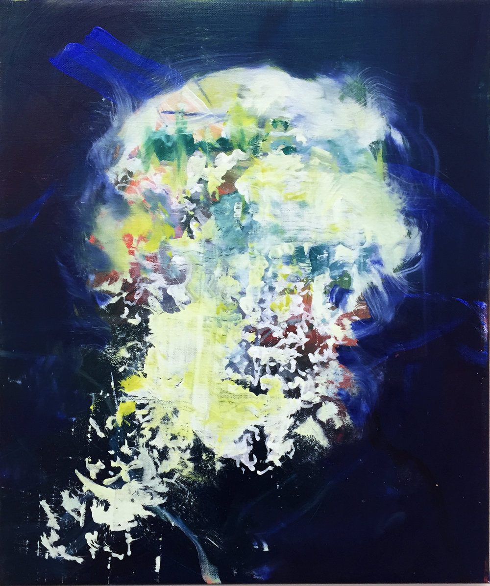 """skull"" oil and spray can on linen 60x50 cm 2016"