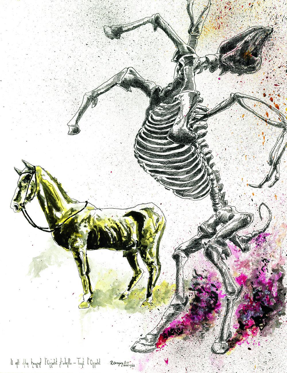 """""""Il est cinq heures l'Orient s'eveille - Tout l'Orient"""" ink on paper 65x50 cm 2011 private collection Rotterdam NLD"""
