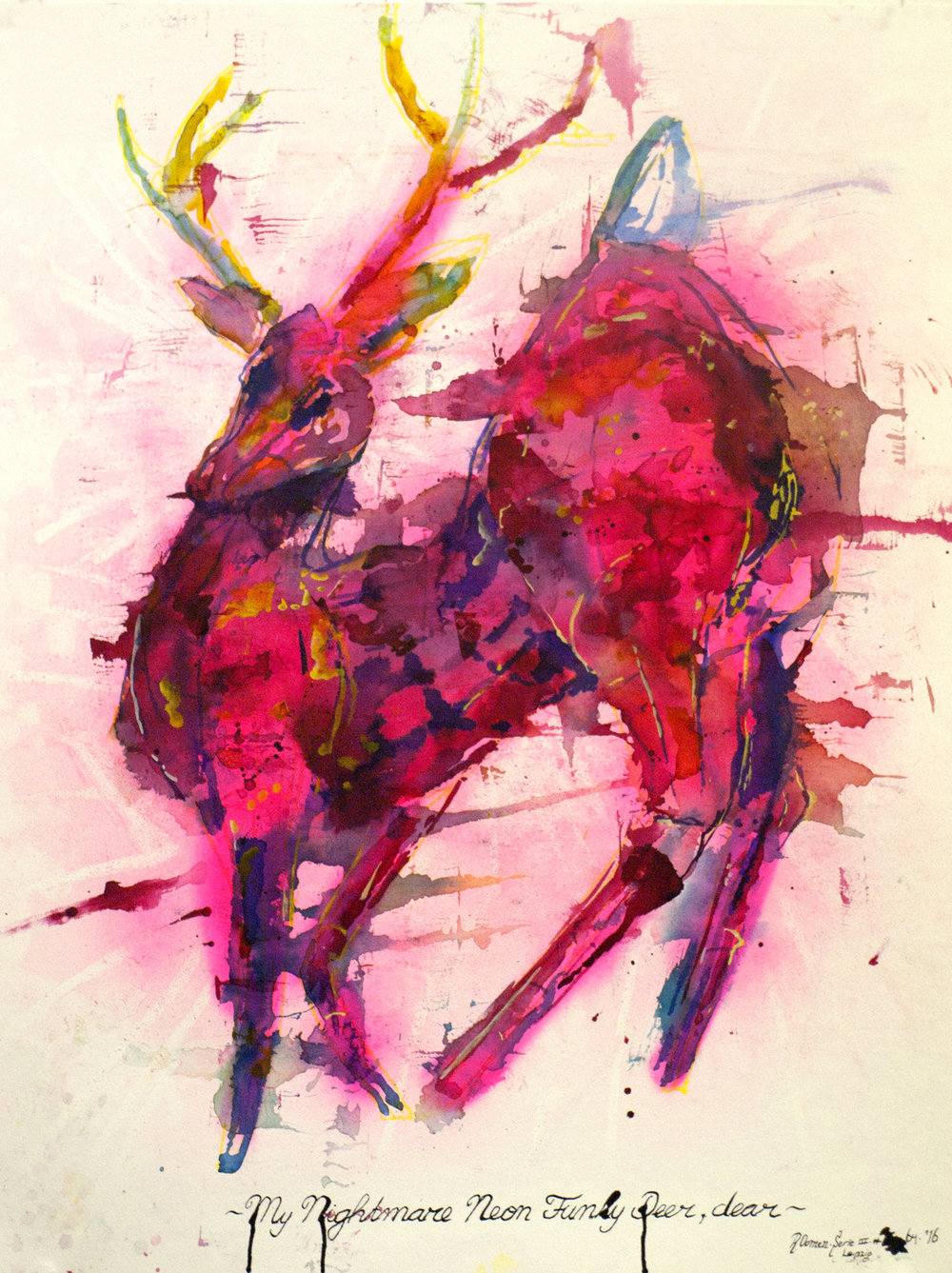 """My neon nightmare funky deer, dear"" ink, spray can and toddler markers on paper 65x50 cm 2016"