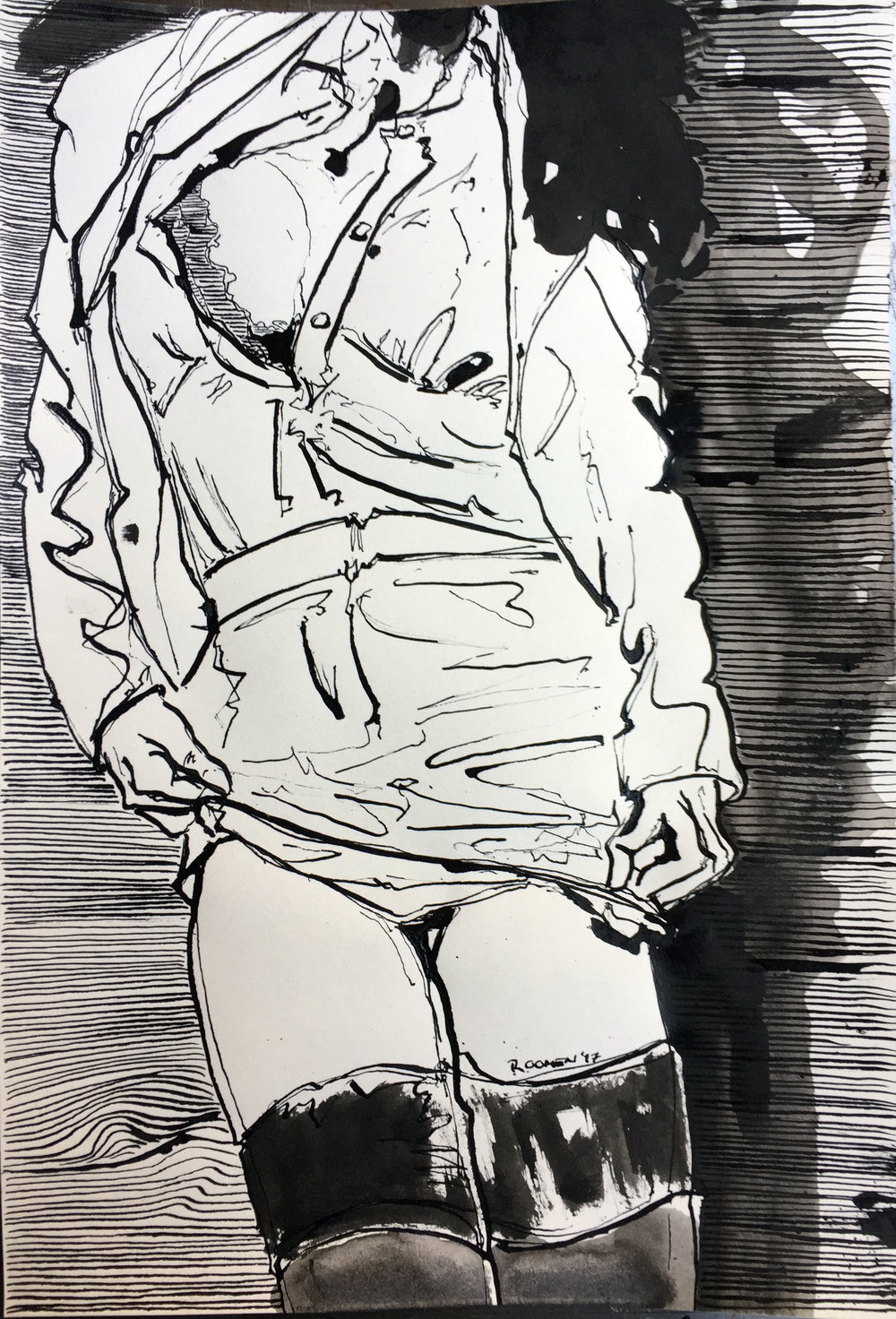 erotic model front Indian ink on paper 33x22,5 cm 2017