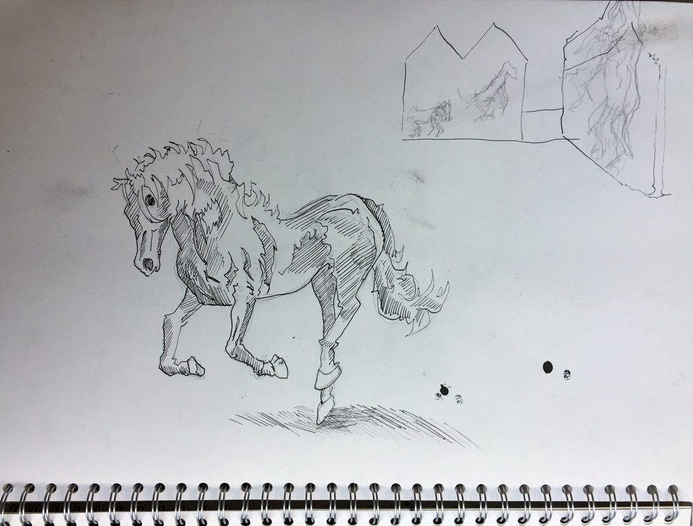 Sketch for mural (horse) Indian ink and pencil on paper 40x40 cm 2015