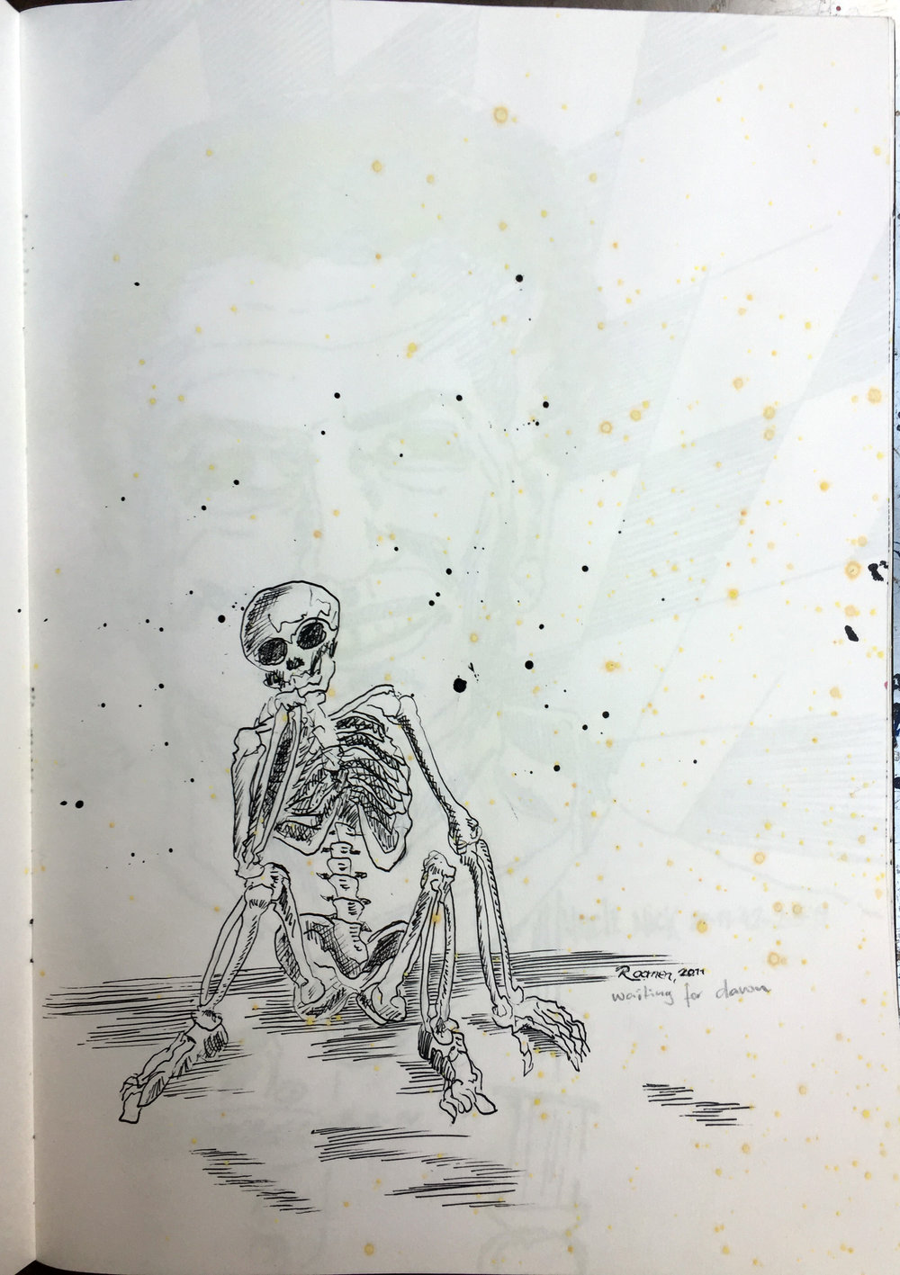 skeleton wondering ink on paper 42x29,7 cm 2011