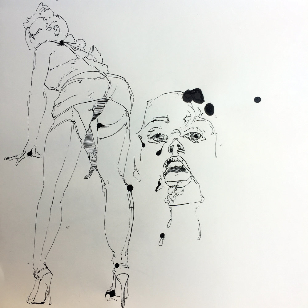 Arousing model from behind and face ink on paper 40x40 cm 2017