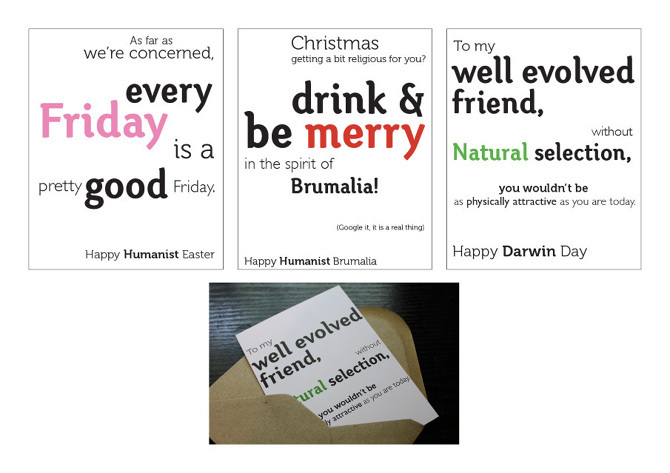 MY DESIGNER DAYS - I once toyed with the idea of being a graphic designer. Went to art school. Learnt a lot. Decided I preferred writing words than designing them.But none the less, I created a project I'm still rather proud of- Greeting cards for the British Humanist Society. They sold them on their website and everything.