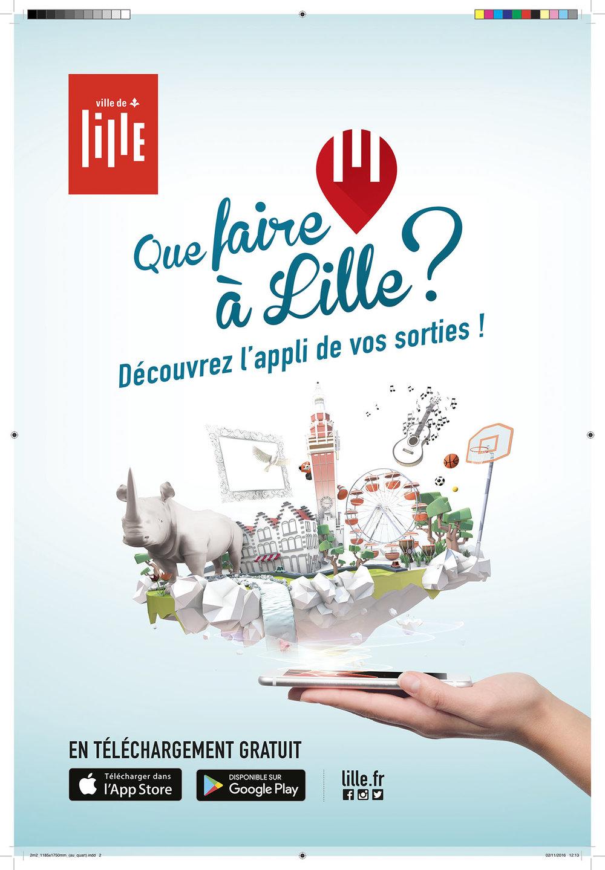 """Affiche """"Que faire à Lille ?"""" - découvrez l'appli de vos sorties ! - Ville de Lille"""