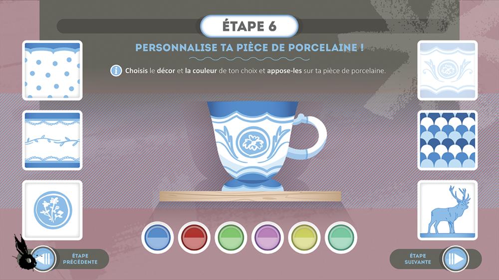 personnalisation piece porcelaine mini jeu motif bleu