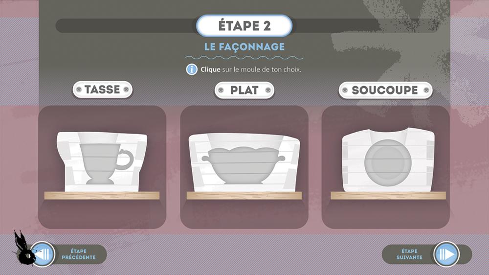 mini jeu etape 2 choix porcelaine moule