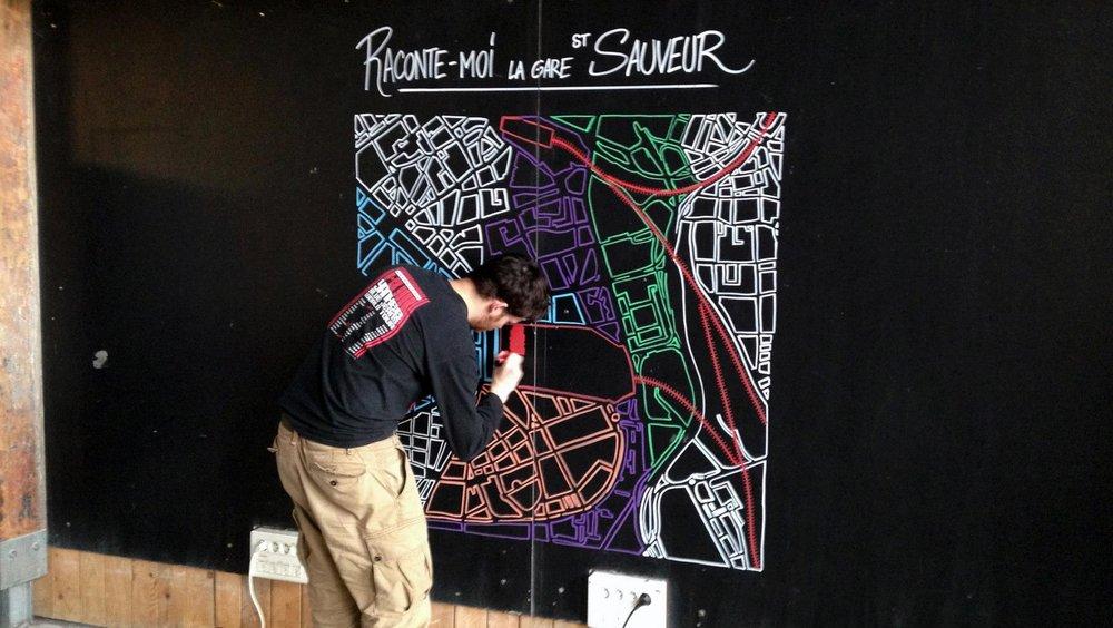 Illustration murale - Gare Saint Sauveur - White Rabbit Pictures