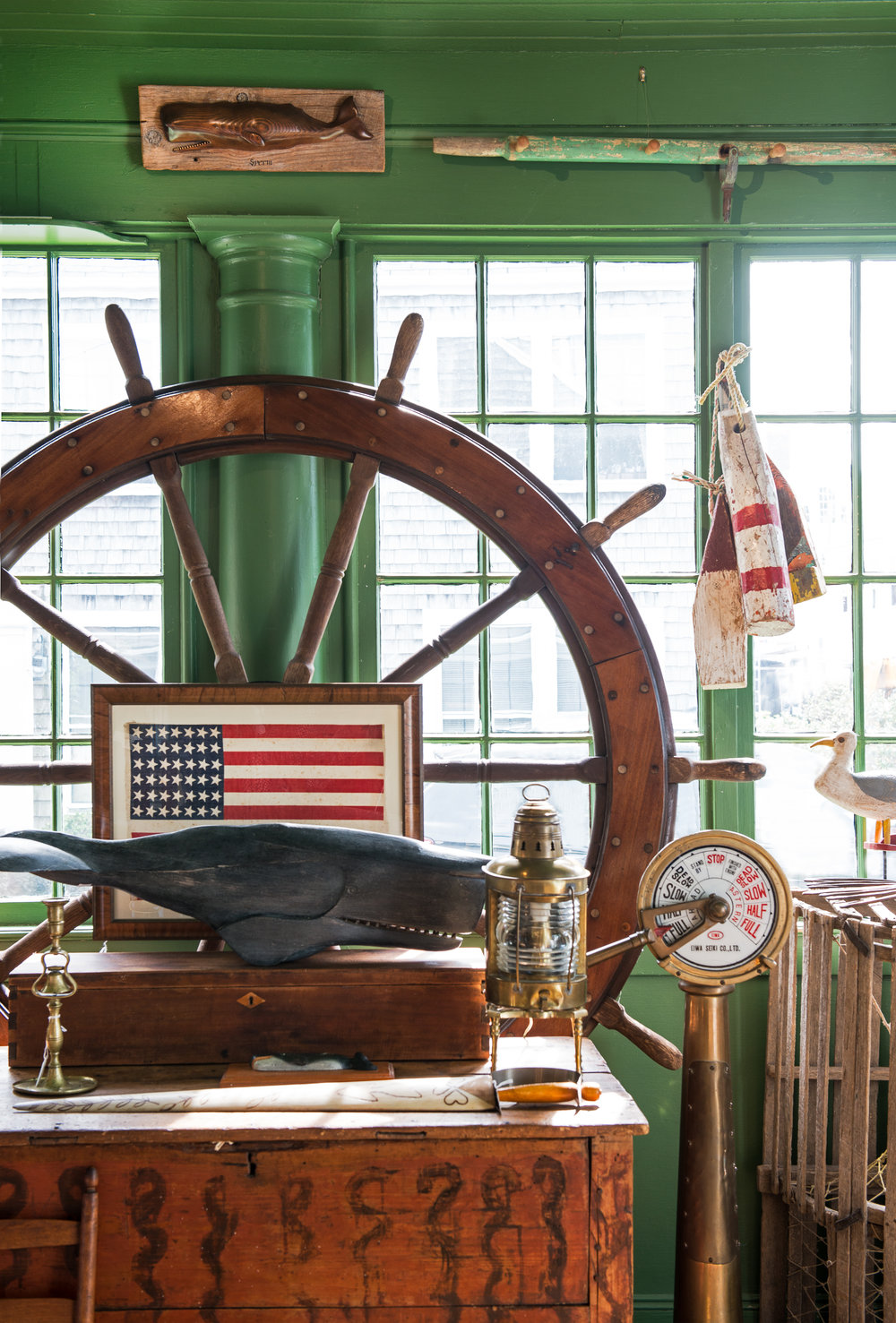 Ship's Wheel and brass lantern