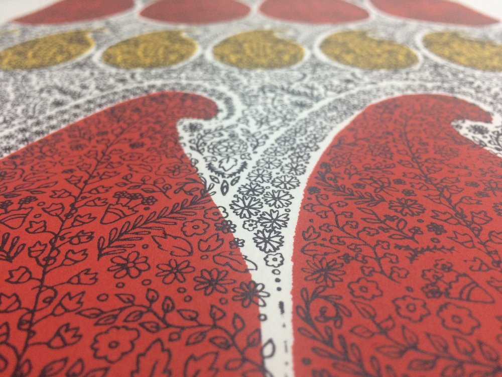 One of my favourite Paisley designs screen printed on paper