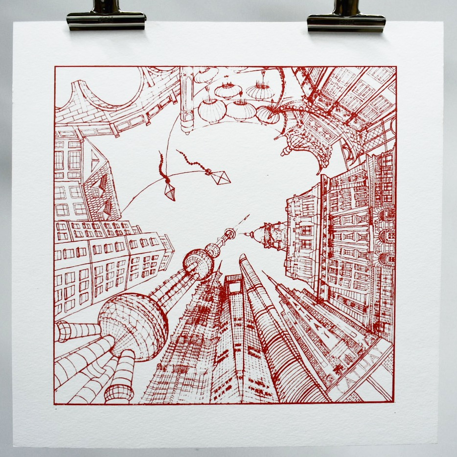 Screen printed image of the most famous buildings of Shanghai