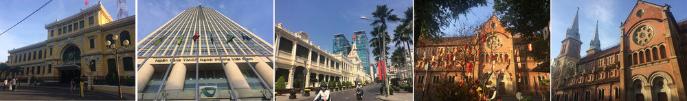 Being a tourist at: Central Post Office, one of the Bank buildings, Saigon City Hall,Notre-Dame Cathedral Basilica of Saigon