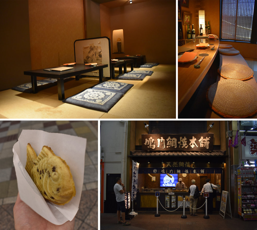 Traditional Japanese restaurant & red bean filled fish-shaped waffle