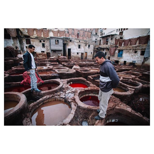 Hidden deep within #fes there is the 600 year old #tanneries. The intense smell comes from pigeon droppings.