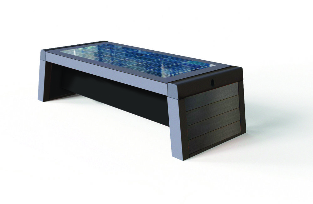 Urban Smart Bench - The Urban Smart Bench offers a high-end, robust steel frame, powder coated in anthracite grey, with options for composite clad wood effect end panels, with a toughened edge protected 13 mm glass top.The Solar Smart Bench has four USB charging ports, (iPhone and Android), and with an LED underside strip light included, the Urban Smart Bench offers an overall durable understated stylish outdoor bench that fits with any exterior setting.