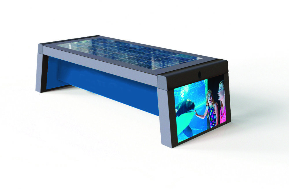 Digi Smart Bench - The Digi Smart Bench offers the same features as the Urban/Flexi model but with the added premium features of LED full colour branded graphic end caps. This allows the customer to maximise their in brand communication potential.