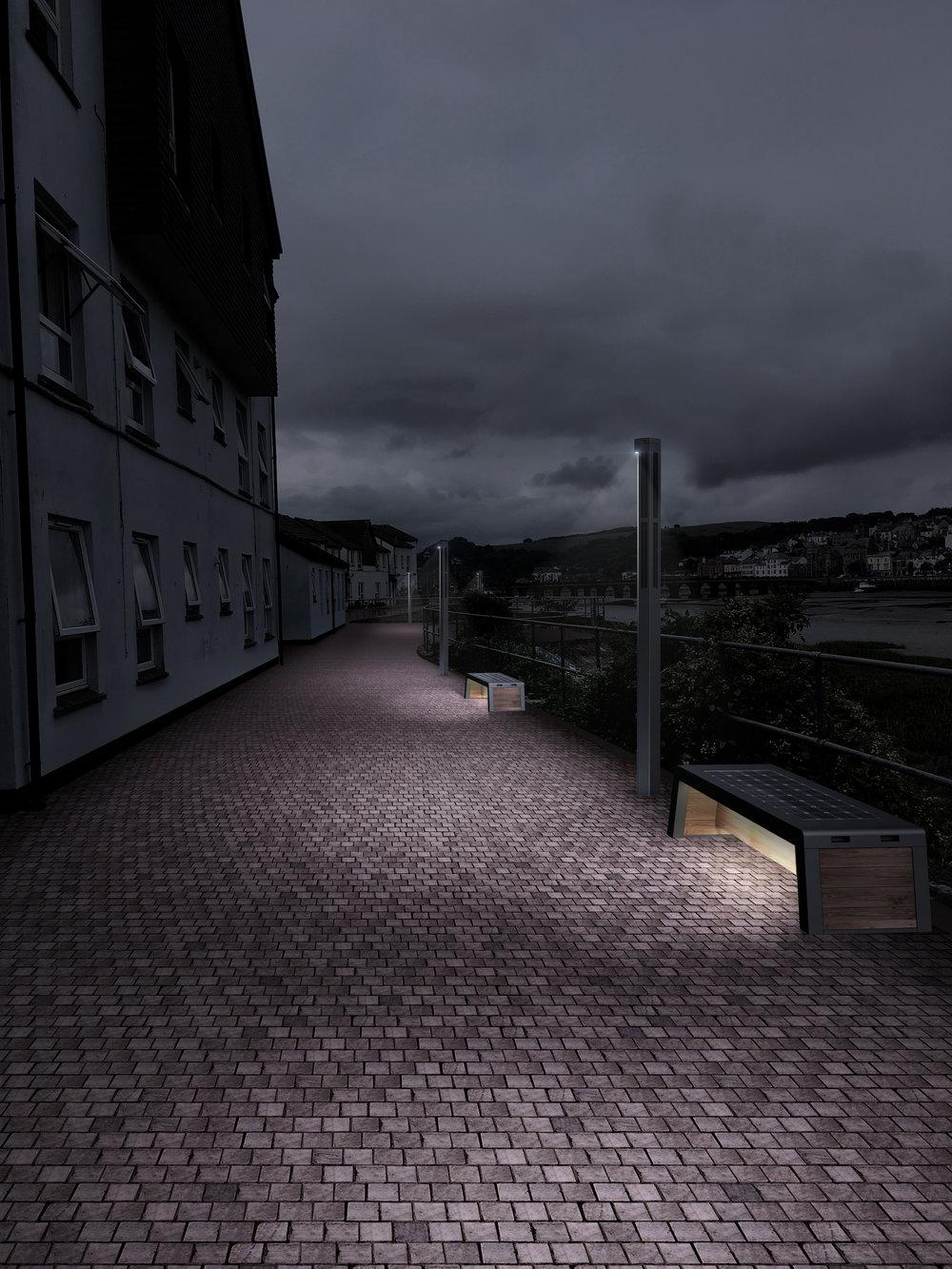 Bideford_SolarStreet_2m_PlusBench_Dusk-1.jpg