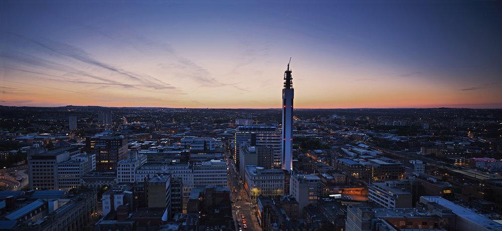 Birmingham and BT Tower Panorama at Night.jpg